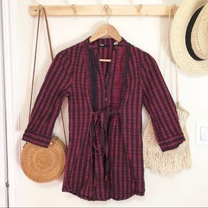 BDG urban outfitters red black plaid long sleeve